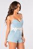 Caught In The Middle Romper - Denim Blue