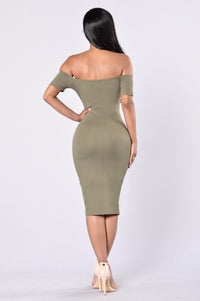 Breaking Borders Dress - Olive Angle 4