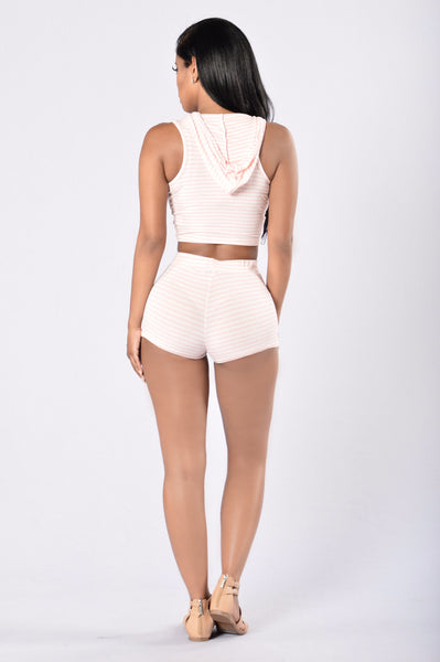 Bring It On Again Shorts - Blush/White