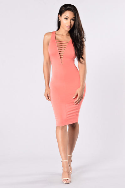 Can't Be Caged Dress - Coral