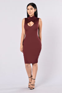 Catalyst Dress - Burgundy Angle 1