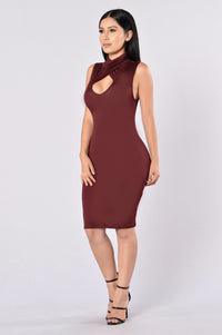 Catalyst Dress - Burgundy Angle 3