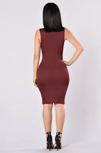 Catalyst Dress - Burgundy Angle 2