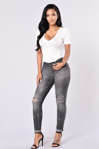 Caution: Wet Paint Jeans - Black Splatter Angle 2