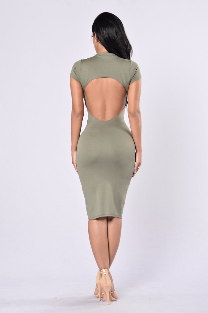 Check Out My Back Dress - Olive