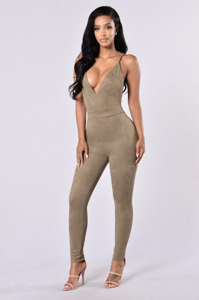 Crawling Back to Me Jumpsuit - Olive