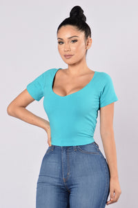 Crop It Like It's Hot Top - Teal