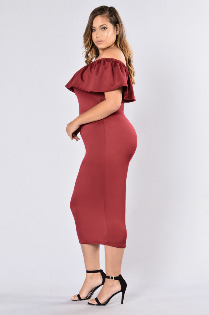Cut To The Good Part Dress - Burgundy