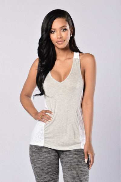 Day Dreamer Tank Top - Heather Grey/White