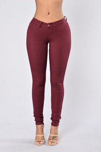 Easy Fit Jeans - Burgundy Angle 1