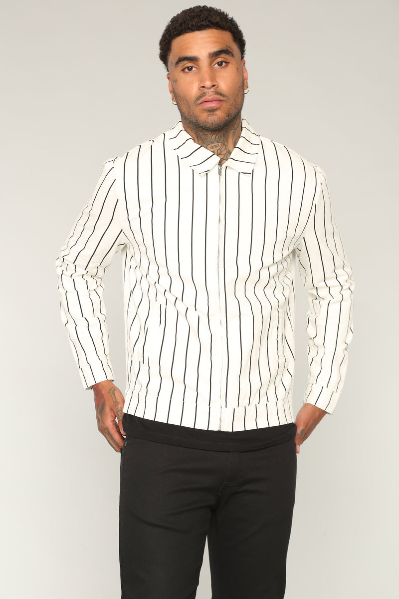The Al Striped Jacket - White/Black