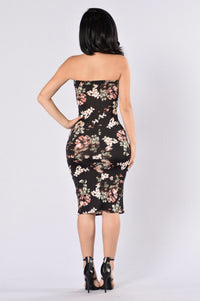 Flowers In Bloom Tube Dress - Black Multi Angle 2