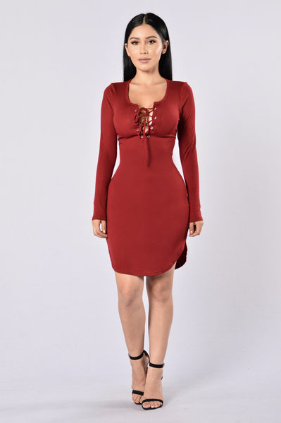 Friday Night Fever Dress - Burgundy