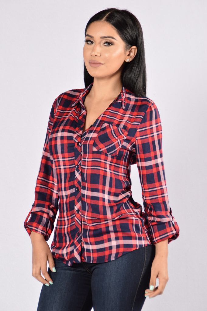 Gonna School You Plaid Top - Red