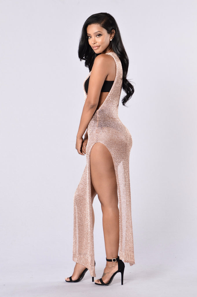 Hot Crush Cover Up Dress - Rose Gold