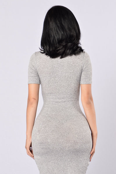 Living In The Fast Lane Dress - Heather Grey
