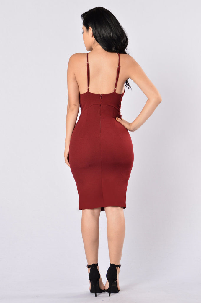 Looking Fine Dress - Burgundy