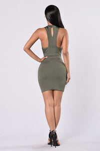 Looking For Trouble Dress - Olive Angle 2
