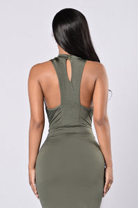 Looking For Trouble Dress - Olive Angle 5