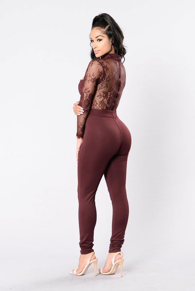 Love Is Blind Jumpsuit - Burgundy