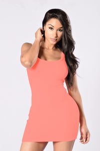 One of the Boys Dress - Neon Coral