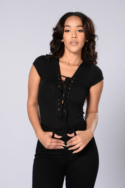 Sammie Lace Up Bodysuit - Black