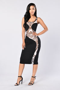 Seeing Stripes Dress - Black