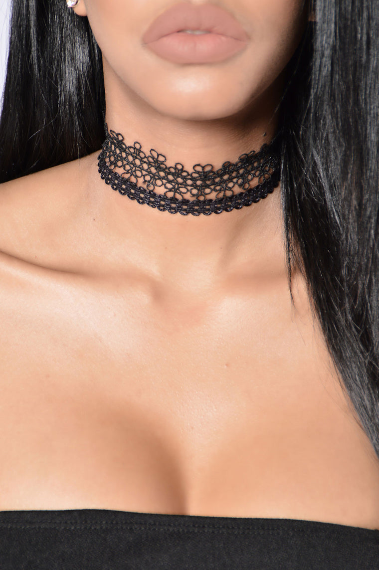 Lace Lover Choker Set - Black