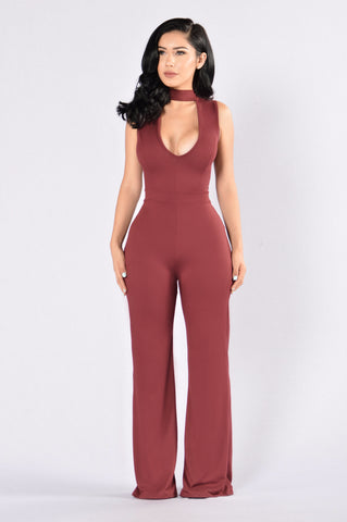 Sophisticated Lady Jumpsuit - Dark Wine