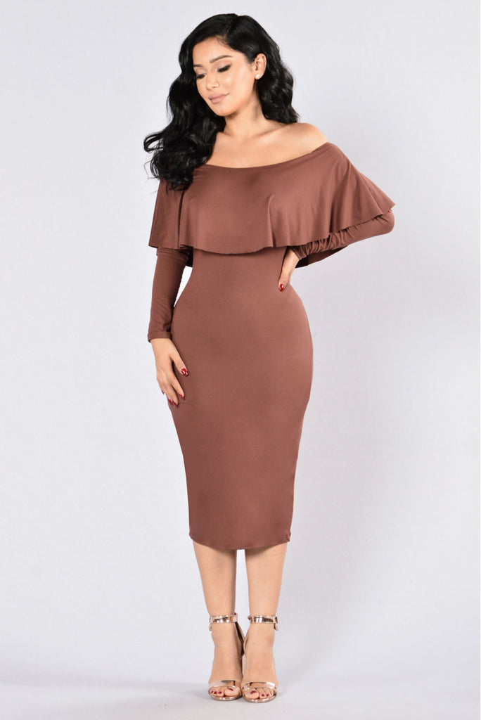 Still On It Dress - Brown