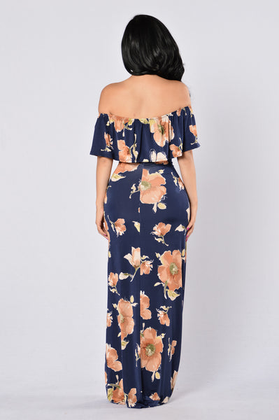 Sweet Vacation Dress - Navy/Rust