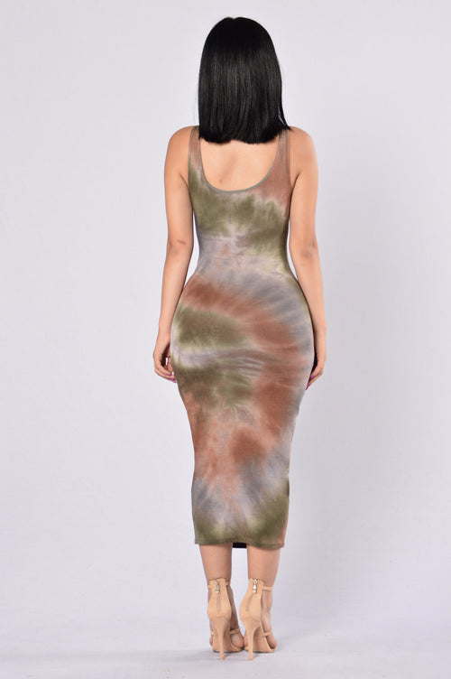 Swept Away Dress - Olive Multi
