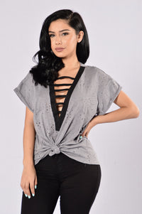 Tied Around You Top - Charcoal/Black