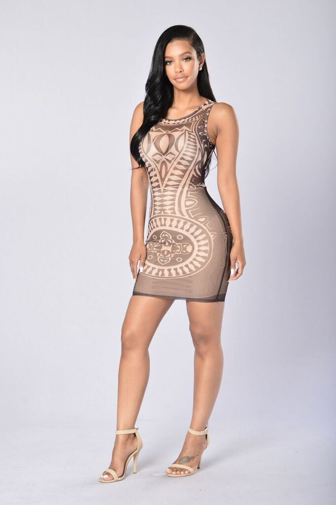 Aztec Queen Dress - Black/Nude