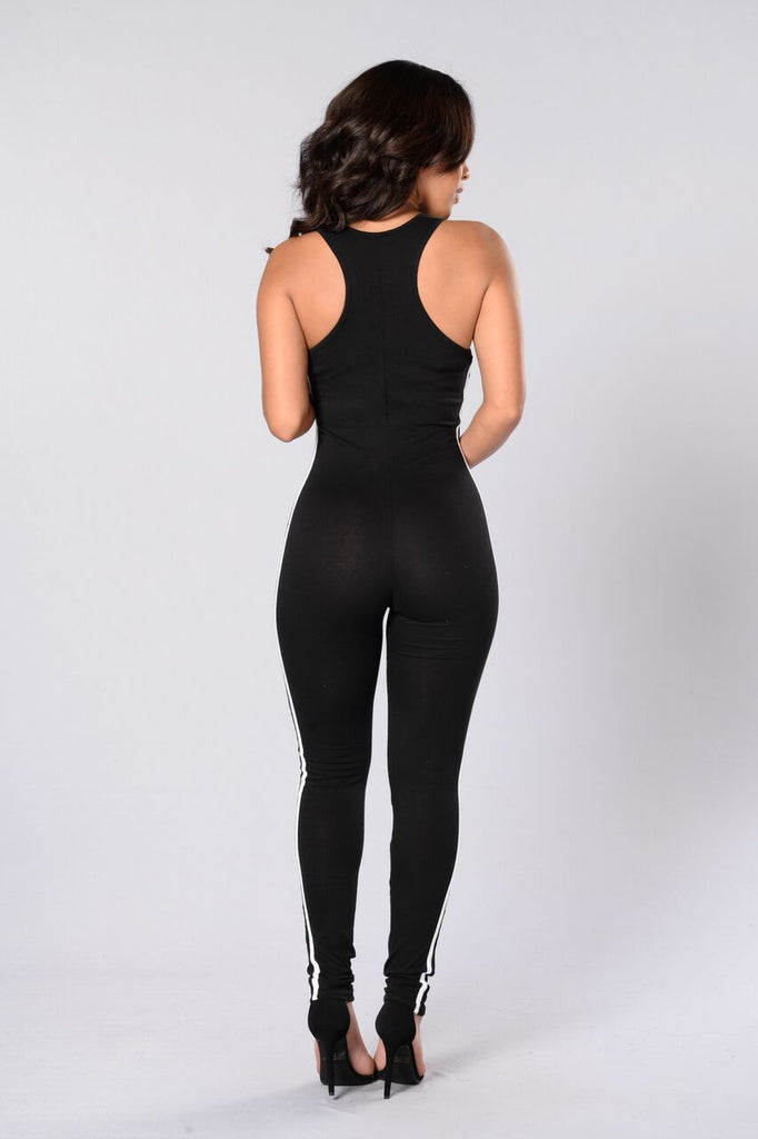 Jump On It Jumpsuit - Black/White