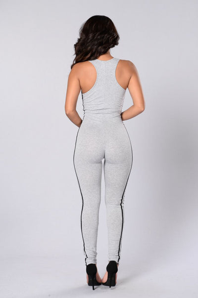 Jump On It Jumpsuit - Heather Grey/Black