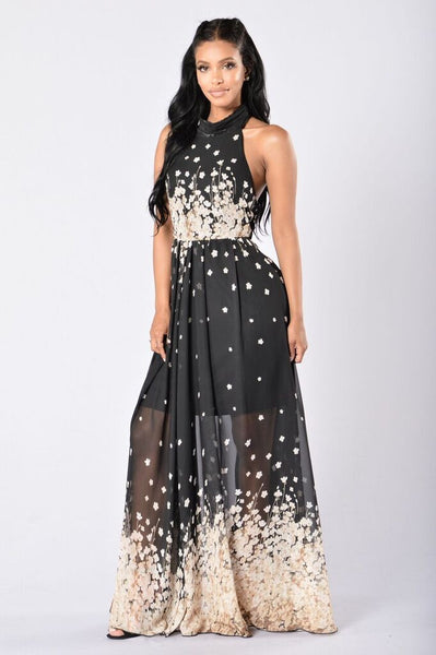 Cherry Blossoms Maxi Dress - Black/Taupe