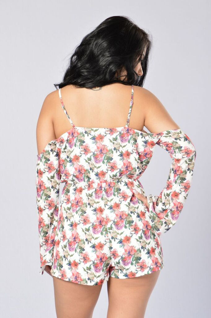 Tropical Punch Romper - White