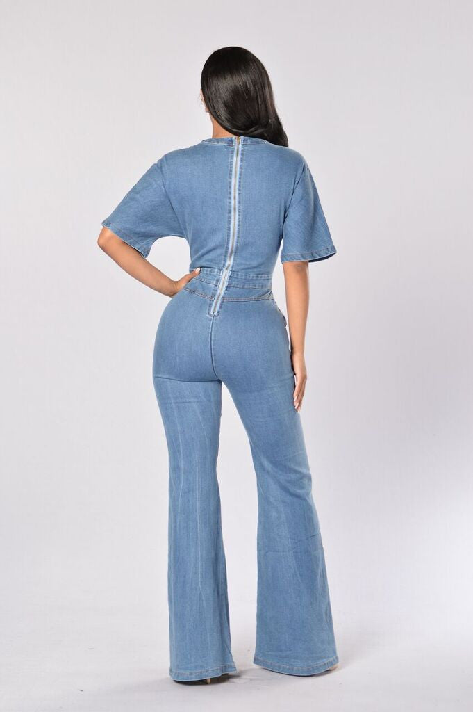 Funky Town Jumpsuit - Medium Wash