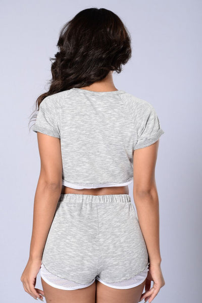 In It To Win It Crop Top - Heather Grey