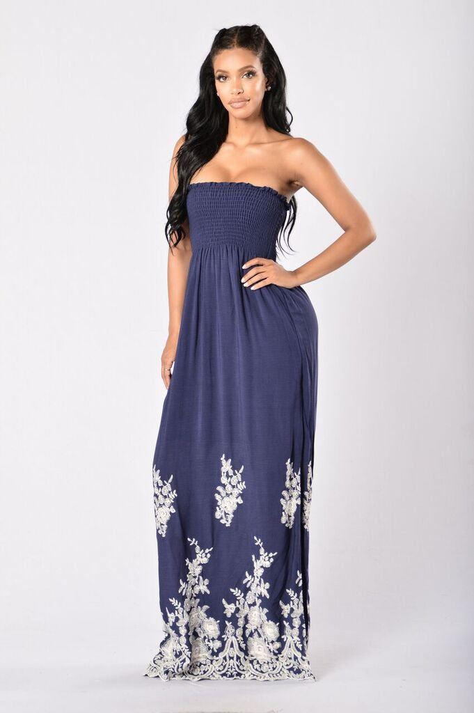 Beach Please Dress - Navy