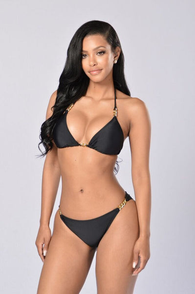 By The Pool Chain Bikini - Black