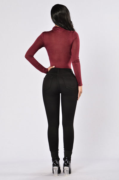 What Do you Mean Bodysuit - Burgundy