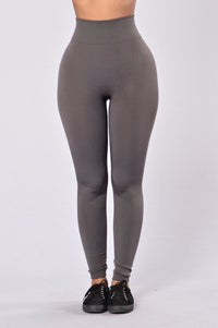 Yes Fleece Leggings - Charcoal