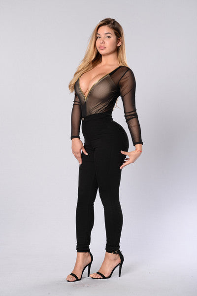 Zipper Mesh Bodysuit - Black