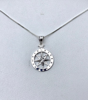 Small sterling Compass Rose necklace