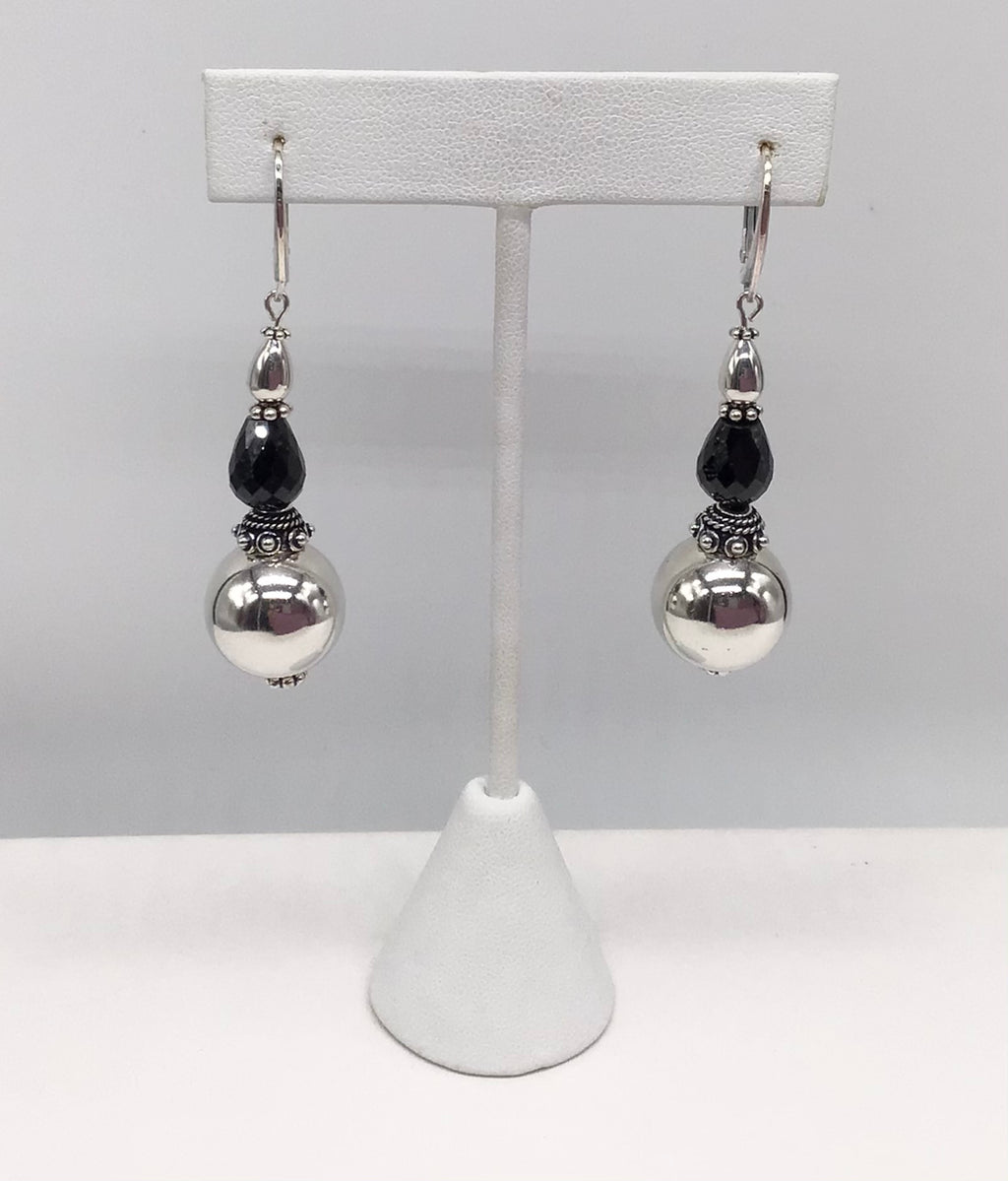 Sterling silver large Silver bead and Onyx earrings