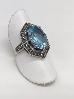Sterling silver Blue Topaz and Marcasite ring