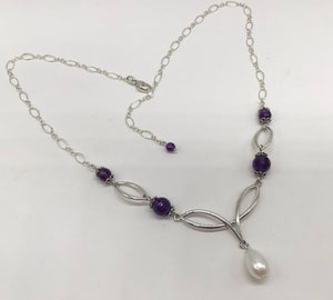 Sterling silver faceted Amethyst and Pearls necklace.
