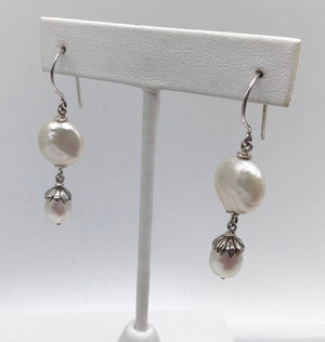 Sterling silver Fresh water and White Coin Pearls earrings.